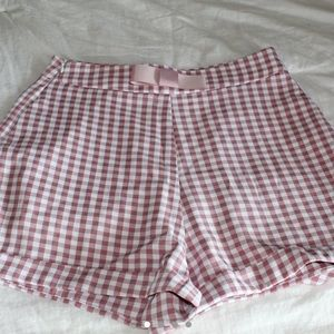 70's bow waist hem gingham shorts